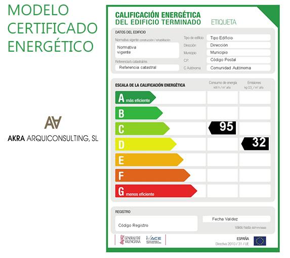 Impreso modelo de certificación de eficiencia energética.