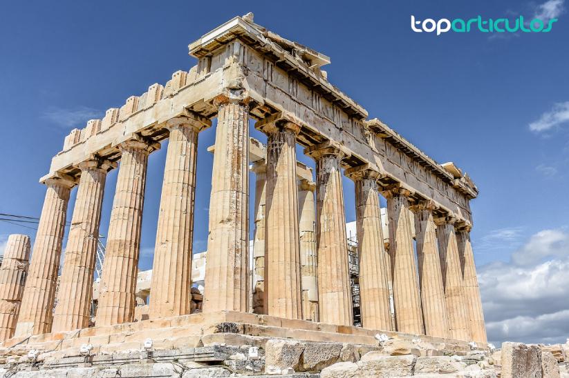 vistas de partenón y acrópolis de grecia
