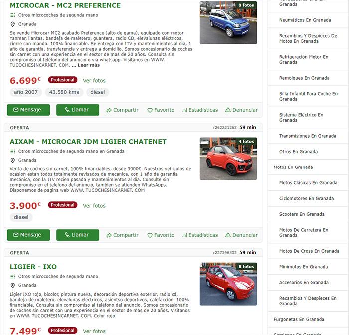 Listado de coches microcar en Portal Milanuncios