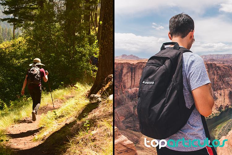 Chica con mochica en una montaña y chico con mochila en el desierto
